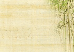 Chinese ancient background with bamboo. Japanese manuscript - grunge antique paper texture.