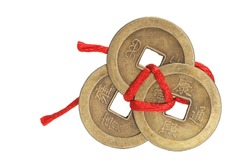 Chinese Ancient Coins on White Background