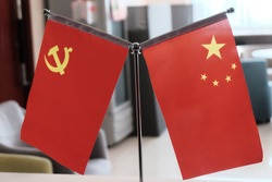 Chinese and Communist flag together