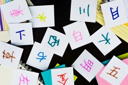 Chinese and Japanese; Learning Language with Handwritten Alphabet Character Cards