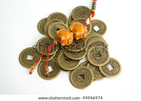 Chinese antique coins and jade