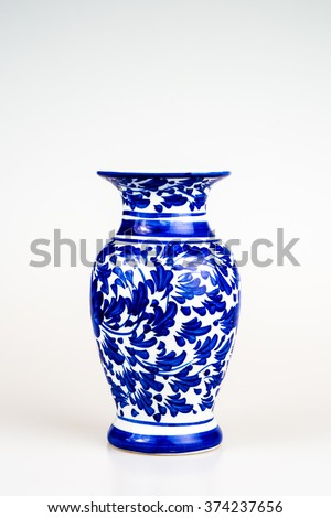 chinese antique vase on the plain back ground #374237656