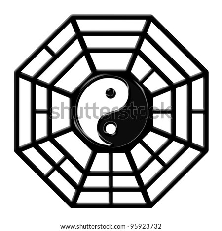 Chinese Ba Gua Eight Sided Trigrams OCtagon Yin Yang Symbol Isolated on White Background