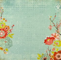 Chinese Background With Lotus Flowers and Blossom. Chinese New Year