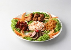chinese banquet menu 5 combo deluxe cold platter with smoked duck, prawn, octopus, wu Xiang