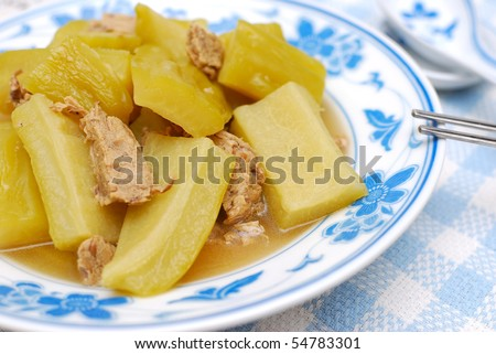 Chinese bitter gourd cuisine cooked with mutton. For healthy lifestyle, and food and beverage concepts.