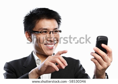Chinese businessman happy expression when using video call, isolated on white background