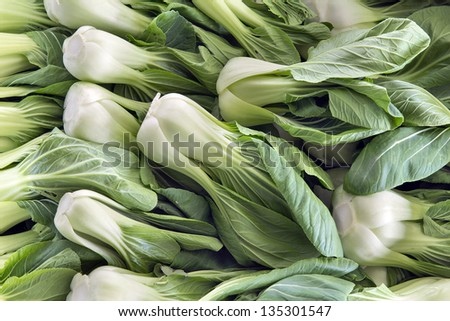 Chinese Cabbage Bok Choy White Vegetables at Wet Market in Southeast Asia ストックフォト ©