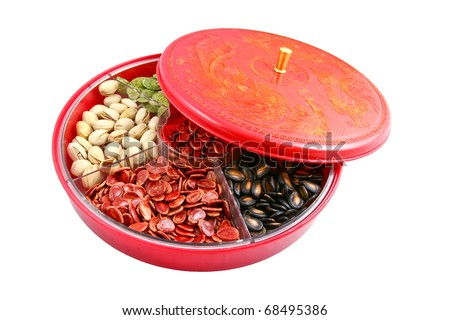 Chinese candy box is used for Chinese New Year, it consists different kinds of candies, chocolate coins, melon seeds, sugar preserved dried fruits or even dried vegetables.