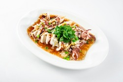 Chinese Cantonese cuisine home cooking, a dish of garlic steamed tubule squid on a white background
