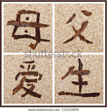 Chinese character for mother, father, love, birth, concept family