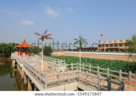 Chinese Classical Traditional Architecture in Artificial Lake