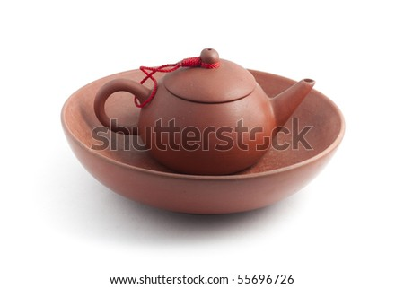 Chinese clay pot with bowl