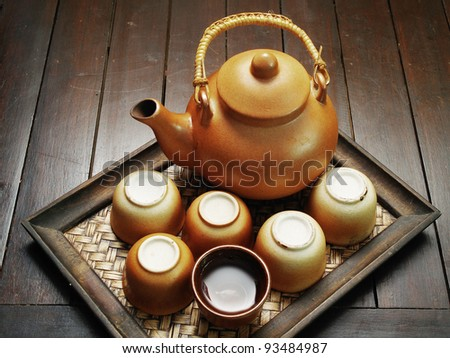 Chinese clay teapot isolated - stock photo