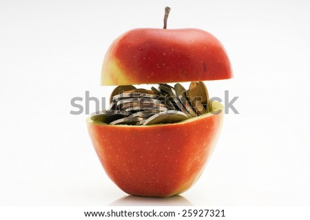 Chinese coins in red apple