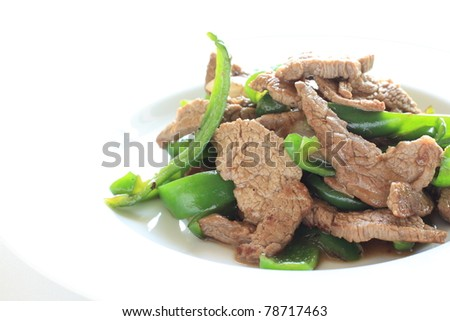 Chinese cuisine, Beef and green pepper stir fried - stock photo