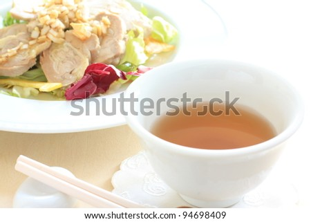 Chinese cuisine, chinese tea and summer steamed chicken