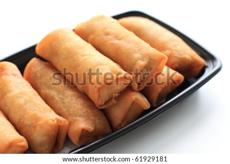 Chinese cuisine, Deep fried spring roll in pack for take out image