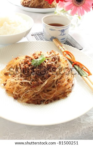 Chinese cuisine, gelatin noodles and mince stir fried