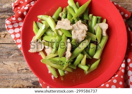 Chinese cuisine of fried asparagus  #299586737
