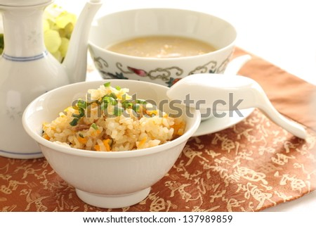 chinese cuisine, pork and egg fried rice and chicken corn soup