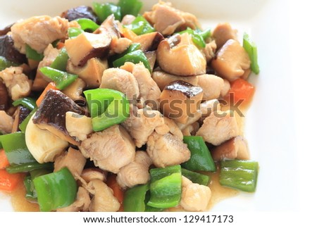 chinese cuisine, variety vegetable and chicken cube stir fried on square dish