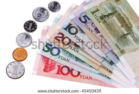 Chinese currency: Types of Chinese banknotes and coins over white background