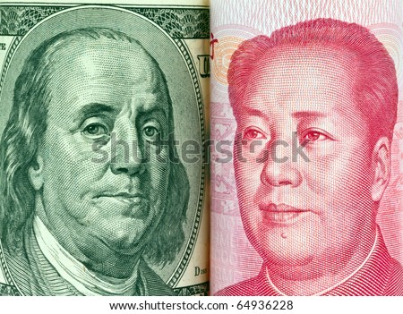 Chinese currency yuan and U.S. dollars amerkinaische bills