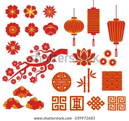 chinese decorative icons for chinese new year 339972683
