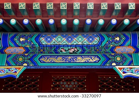 Chinese design on roof details of palace