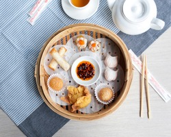 Chinese dim sum, top view