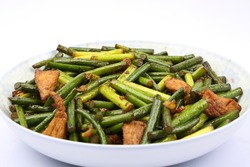 chinese dishes of pork and garlic sprout