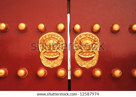 chinese door with a lion/dragon head