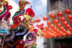 Chinese dragon puppet made from paper in Lunar new Year festival