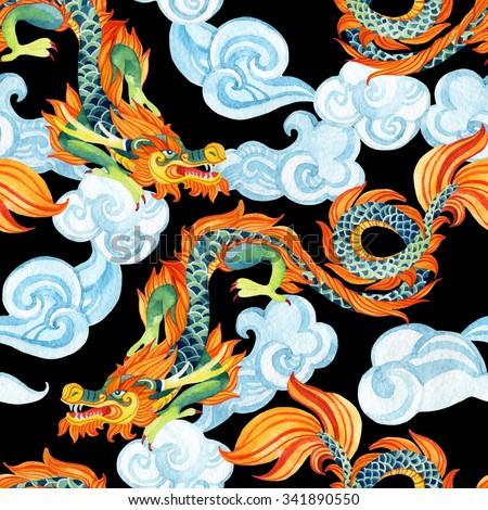 chinese dragon seamless pattern....