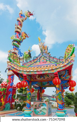 Chinese dragon temple in thailand
