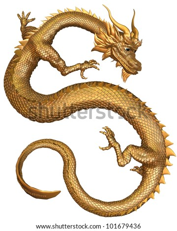 Chinese Dragon with gold metal scales, 3d digitally rendered illustration