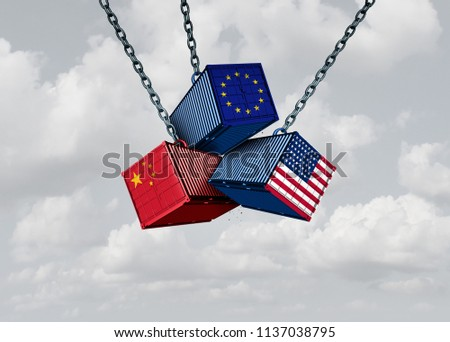 Chinese European and American tariff war as a China Europe USA trade problem as cargo containers in conflict concept with a sky background as a 3D illustration.