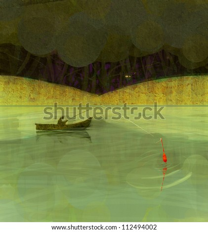 Chinese fairy tale backfround with fisherman