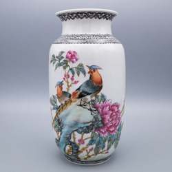 Chinese Famille Rose Vase With Bird and Flower Decoration and Calligraphic Inscription of Poetic Couplet by Emperor Qianlong