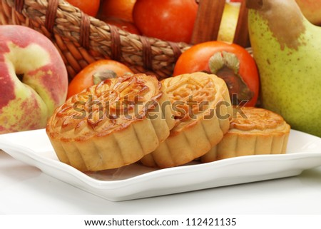 Chinese famous food--Mooncakes,whi ch are Chinese pastries traditionally eaten during the Mid-Autumn Festival / Zhongqiu Festival(the third major festival of the Chinese calendar).