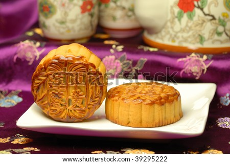 Chinese famous food--Mooncakes,which are Chinese pastries traditionally eaten during the Mid-Autumn Festival / Zhongqiu Festival(the third major festival of the Chinese calendar).