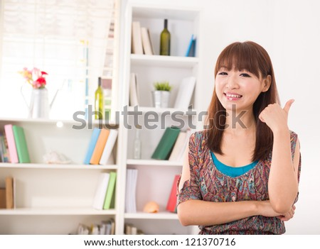 chinese female in living room lifestyle photo
