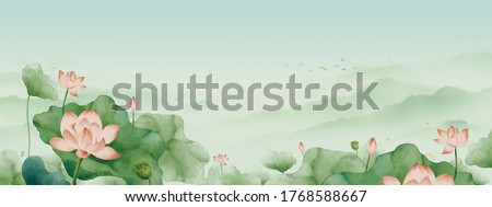 Chinese Feng Shui ink lotus landscape painting.Oriental traditional classical landscape painting with flowers.Ink painting
