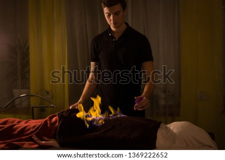Chinese fire massage - Huo Liao therapy. Traditional chinese medicine, fire treatment and bodycare concept #1369222652