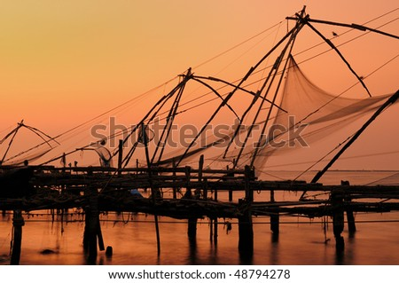 Chinese fisching nets in Cochin, Kerala, India - stock photo