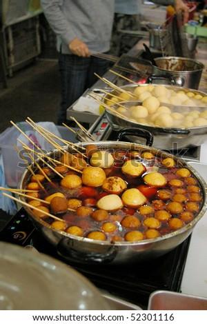 Chinese fish balls along the street of cheung chau stock for Chinese fish balls