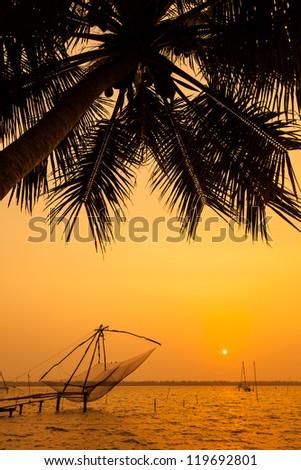 Chinese fishing net at sunset in Cochin (Kochi), Kerala, India