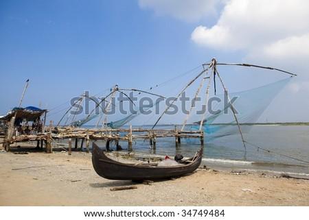 chinese fishing net of cochin in Kerala state india