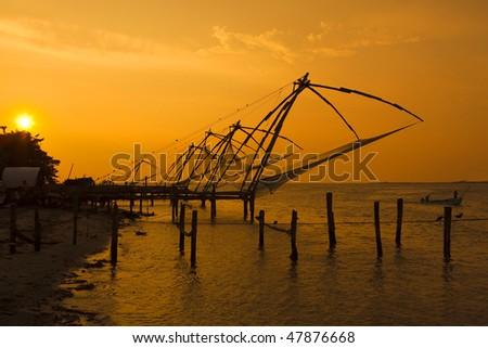 Chinese fishing nets - Fort cochin, Kerala - stock photo